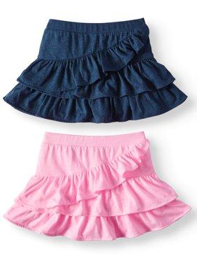 Knit Ruffle Skorts, 2pc Multi-Pack (Toddler Girls)