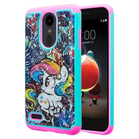 LG Aristo 2 Plus, LG Aristo 2,LG K8 Plus, LG K8 2018,LG Risio 3,LG Fortune 2,LG ,Rebel 3,LG Zone 4 case Protective Hybrid Diamond Soft Silicone Phone Case Cover for Girls Women -Rainbow (Zune Silicone Cover)