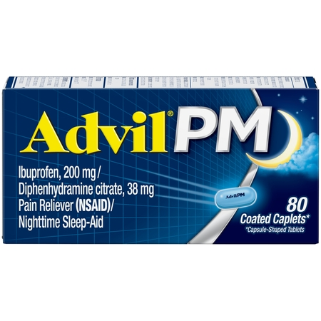 Advil PM (80 Count) Pain Reliever / Nighttime Sleep Aid Caplet, 200mg Ibuprofen, 38mg (Advil Ibuprofen Pain Reliever)