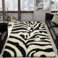 Ottomanson Animal Print Zebra Design High Pile Soft Shag Area Rug, Black-Ivory