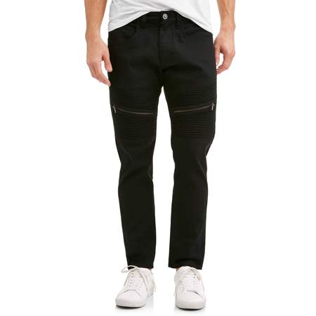 Men's Big Slab 5 Pocket Solid Pant Slim Fit with Moto Detail ()