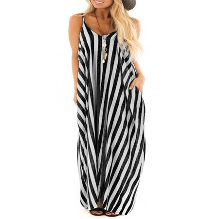 Summer Holiday Women Strappy Cami Striped Long Boho Dress Ladies Beach Maxi -