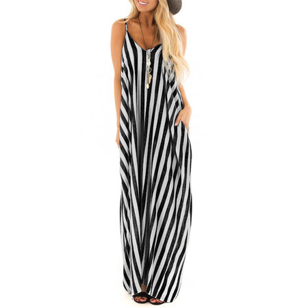 Summer Holiday Women Strappy Cami Striped Long Boho Dress Ladies Beach Maxi Sundress - Halloween Store Long Beach