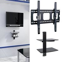 "2xhome - Universal Flat LED LCD Plasma Flat TV Wall Mount Tilt for 35"" 40"" 45"" 50"" 60"" 65"" 70"" 75"" 80"" With 2 Tier Dual Double Temper Glass Shelf Stand For DVR DVD Blu-ray Players TV Box Holder"