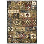 Gatney Rugs Yardsley Area Xe7041 Southwestern Lodge Gold Squares Scrolls Blocks Faded Rug