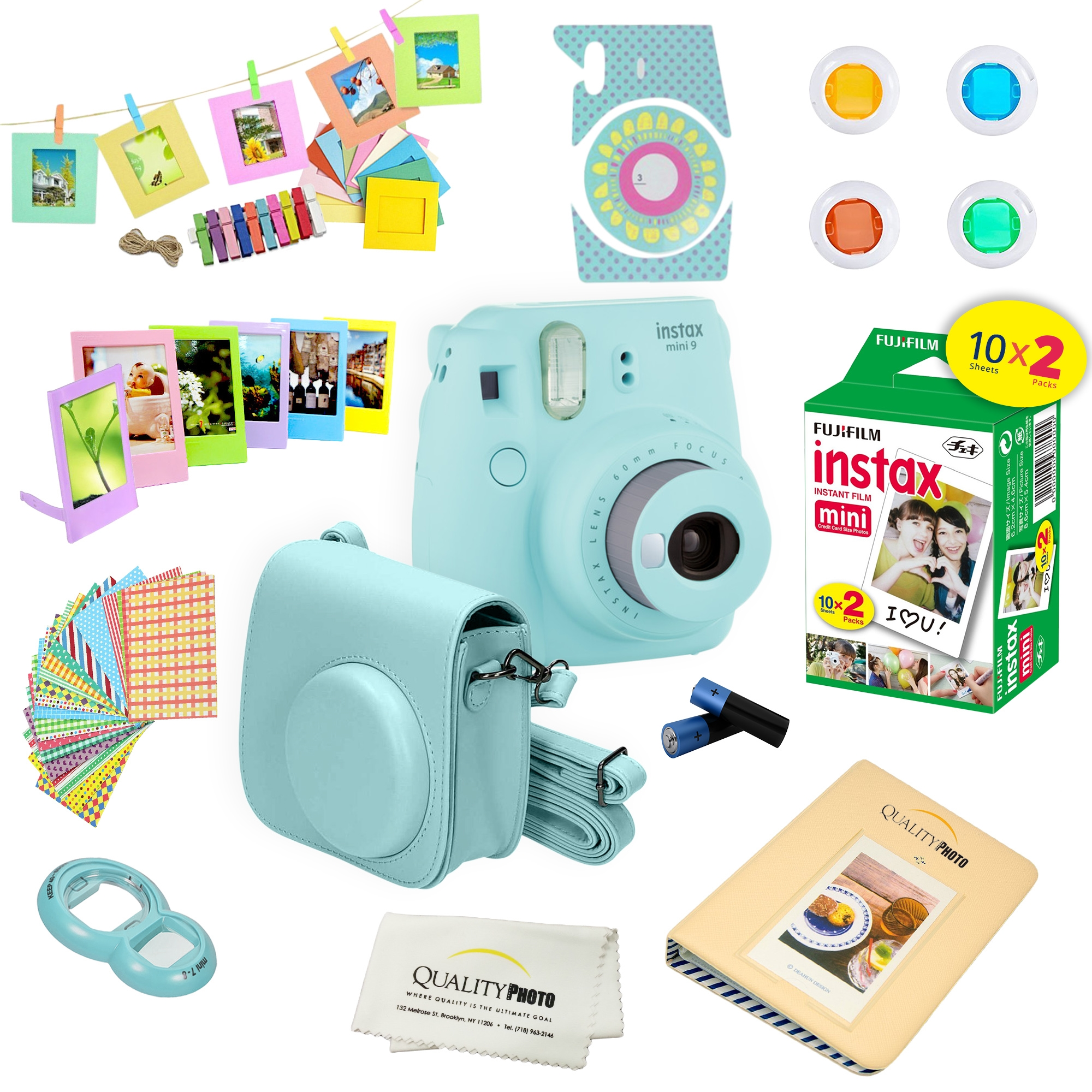 Fujifilm Instax Mini 9 Instant Film Camera with Deluxe Accessories Bundle