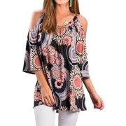 4855f2cf639c0 STARVNC Women Half Sleeve Cold Shoulder Boho Print Round Neck Blouse