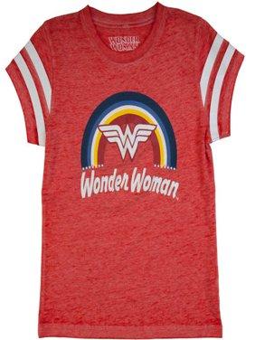Wonder Woman DC Comics Girls' Burnout Tee with Sleeve Stripes