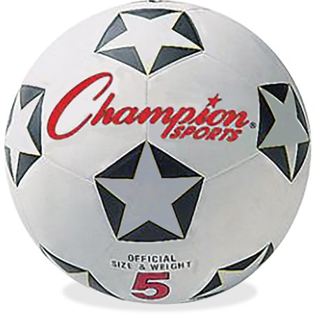 Champion Sports CSISRB5 Soccer Ball, Size 5, Black, White and Red (Customized Soccer Balls)