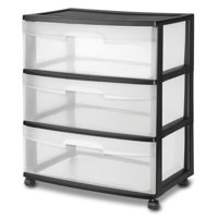 Sterilite 3 Drawer Wide Cart, Black