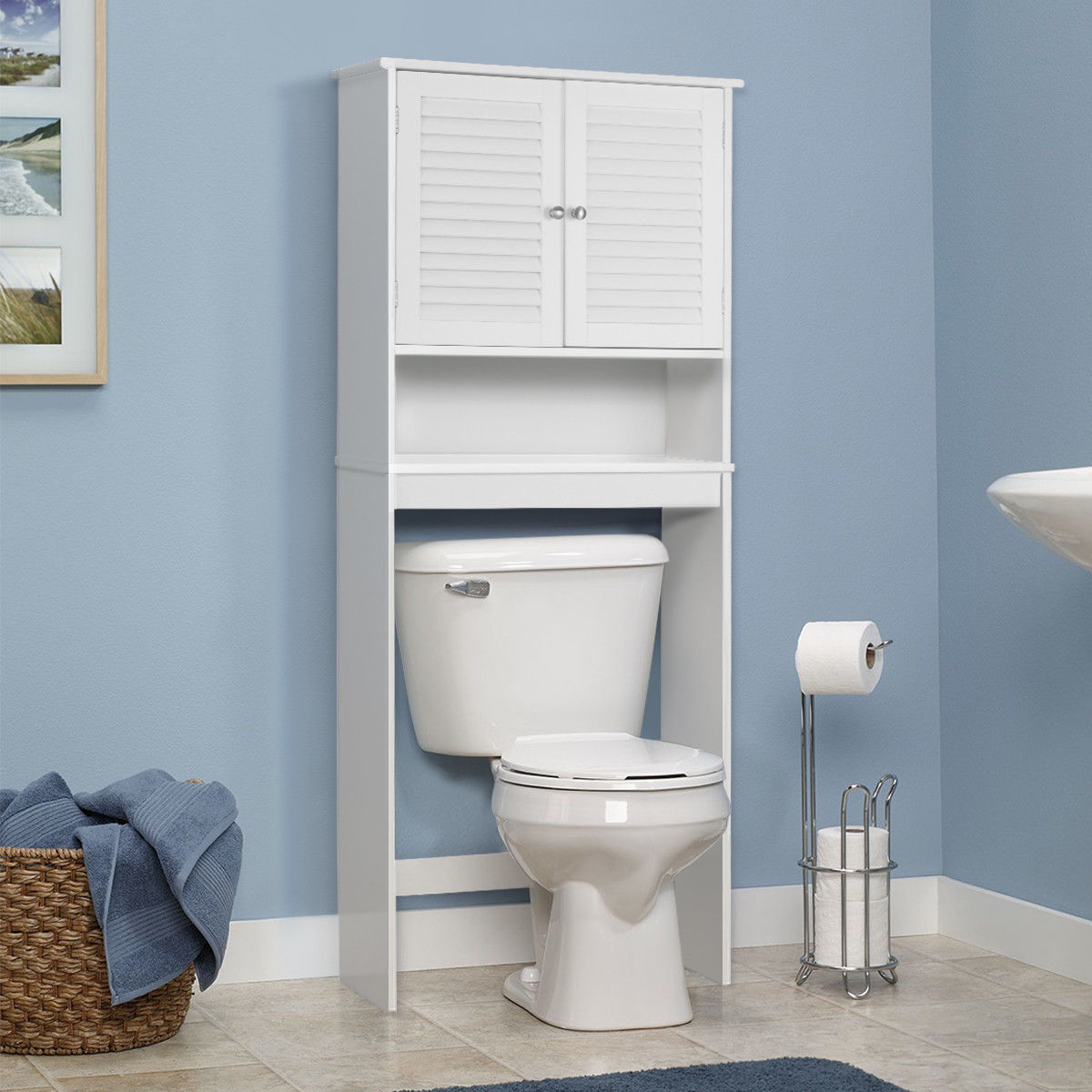 Superieur Gymax Bathroom Space Saver Over The Toilet Shelved Storage Cabinet  Organizer White