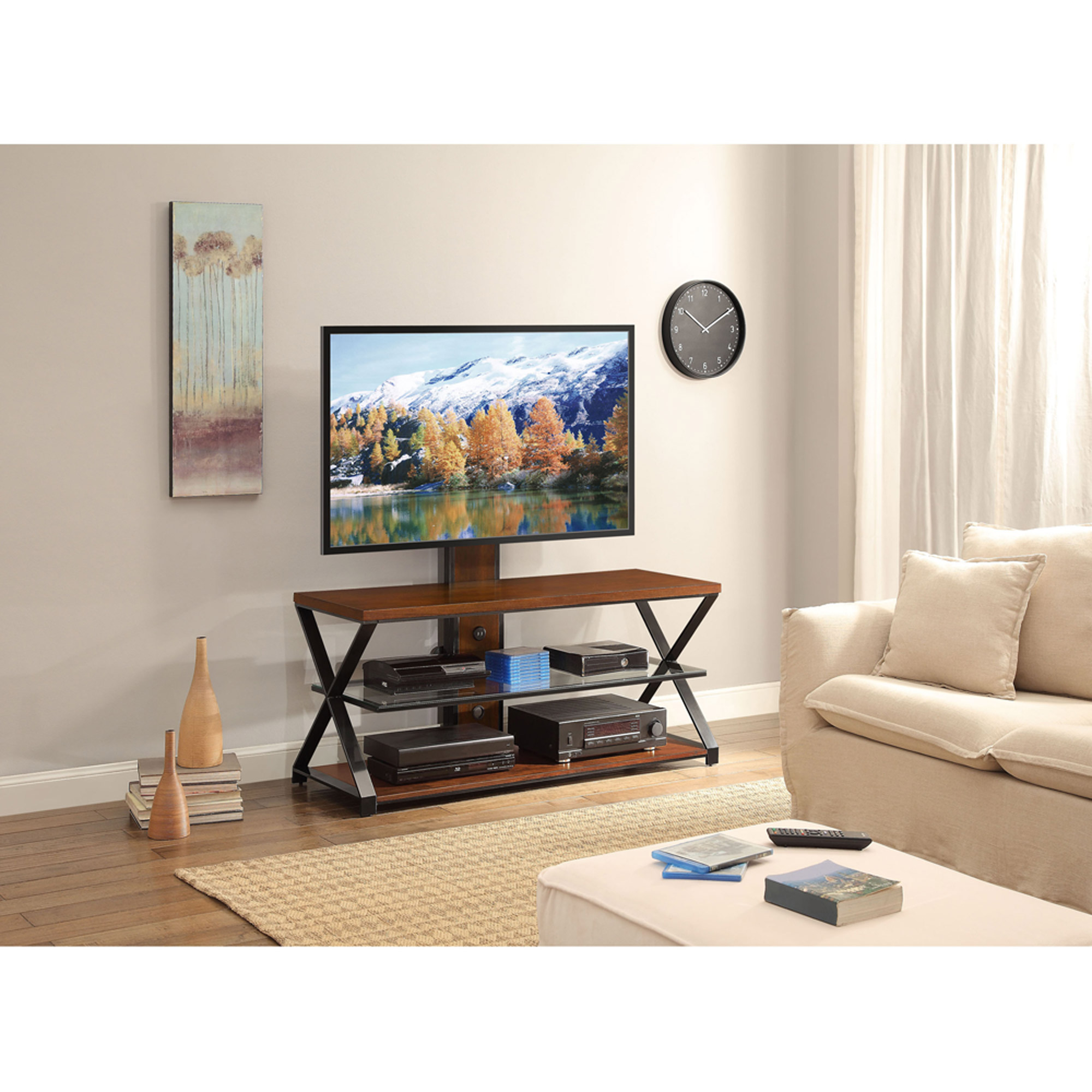 Sarah Tv Stands Jaxon 3 In 1 Cognac Tv Stand For Tvs Up To 70