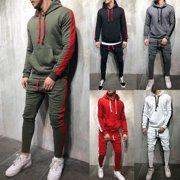 a0fea9b0f60 Men Tracksuit Set GYM Sports Hoodie Hooded Coat Top Bottoms Jogging Joggers  Suit