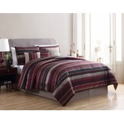 60cdb56fd64 Mainstays Full or Queen Griffith Jacquard Stripe Red Comforter Set