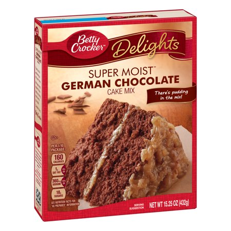 (2 pack) Betty Crocker Super Moist German Chocolate Cake Mix, 15.25 oz (Kahlua Chocolate Cakes)