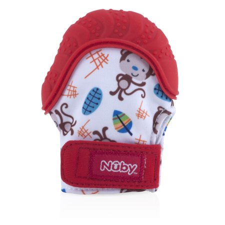 Nuby Teething Mitten with Hygienic Travel Bag, Red