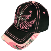 Camo Cutie Cap Ladies Black Pink Rhinestone Cross Ball Cap Womans Rhinestone Hat