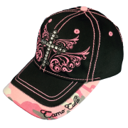 fc9ed3e14d3 Camo Cutie Cap Ladies Black Pink Rhinestone Cross Ball Cap Womans  Rhinestone Hat