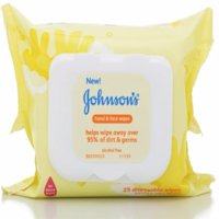 JOHNSON'S Hand & Face Wipes 25 Each (Pack of 4)