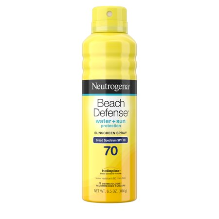 (2 pack) Neutrogena Beach Defense Oil-Free Body Sunscreen Spray, SPF 70, 6.5 oz