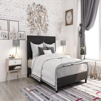 DHP Janford Upholstered Bed, Black Faux Leather, Multiple Sizes