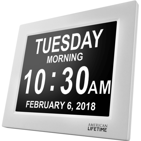 [Newest Version] American Lifetime Day Clock - Extra Large Impaired Vision Digital Clock with Battery Backup & 5 Alarm Options - White