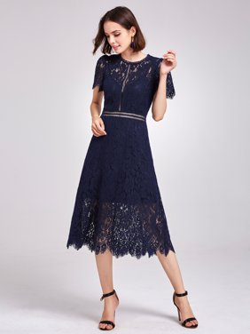90f1cf1e6c8 Product Image Alisa Pan Women s A Line Short Sleeve Sheer Lace Black Tie  Wedding Guest Cocktail Party Midi. Ever-pretty