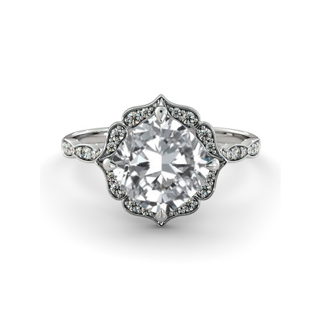 8.00MM D-F VS Moissanite Engagement Ring With Diamonds (2.15 ct Moissanite Weight, 2.65 ctw dew) Cushion Shape 14K Gold