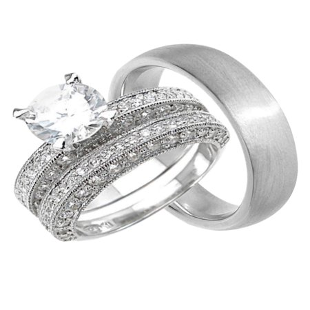 His Hers CZ Wedding Ring Set Unique Matching Bands for Him Her  (9/7)](Unique Wedding)