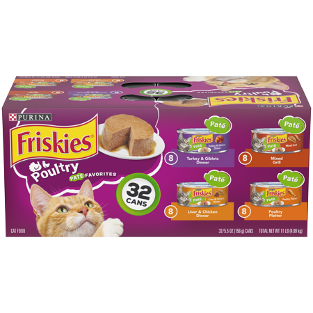 Friskies Pate Wet Cat Food Variety Pack, Poultry Favorites - (32) 5.5 oz. (Best Wet Cat Food For Ibd)