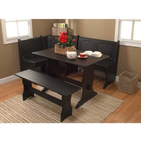 Breakfast Nook 3 Piece Corner Dining Set Black Walmart Com