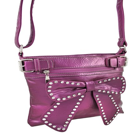 Glossy Vinyl Crossbody Purse with Rhinestone Accented Bow