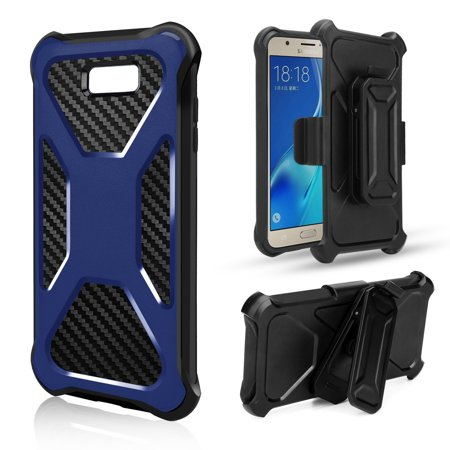 Samsung Galaxy J7 Prime, Sky Pro, J7 Perx, J7 2017, J7 V, Galaxy Halo, J7 2017 Case, Carbon Fiber Holster Combo w/ Tempered Glass Screen Protector Cover - Blue