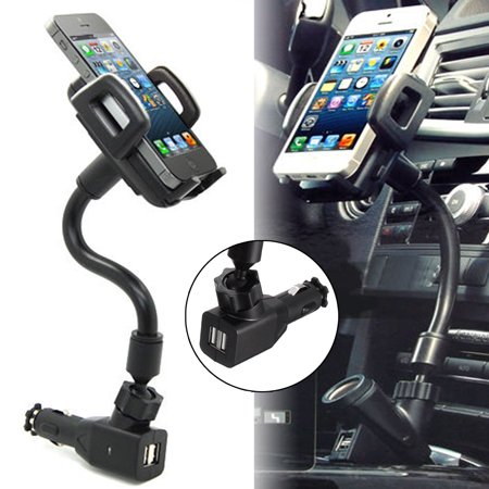 3-in-1 Cigarette Lighter Phone Holder Cradle Gooseneck Car Mount Charger w/ Dual USB 5V 2A Charging Ports for iPhone XS X 8 8 Plus 7 7 Plus 6 6s Plus, for Samsung Galaxy S10 S9 S8