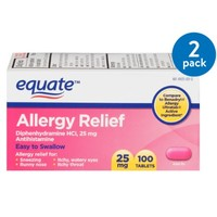 Equate Allergy Relief Tablets, 25 mg, 100 count
