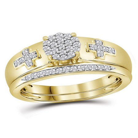 - 10kt Yellow Gold Womens Diamond Cluster Cross Bridal Wedding Engagement Ring Band Set 1/4 Cttw Diamond Fine Jewelry Ideal Gifts For Women Gift Set From Heart