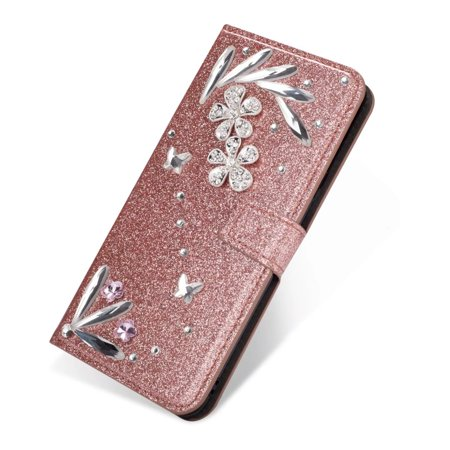 - For Samsung Galaxy S9 Plus Diamond Feather Glitter Leather Magnetic Flip Wallet Case Cover, Rose Gold