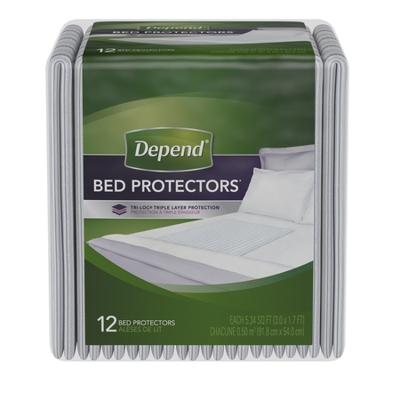 Fisherbrand Disposable - (3 pack) Depend Incontinence Bed Protectors, Disposable Underpad, Overnight Absorbency, 12 Count