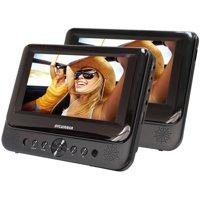 """Sylvania, 7"""" Dual Screen Portable DVD Player, Black"""