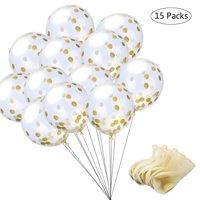 eZAKKA Glitter Confetti Latex Balloon Golden Paper for Party, Wedding, Baby Shower Decorations Gift, 15-Pack