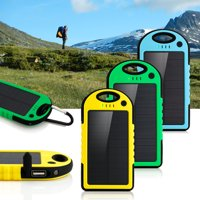 5000mAh Portable Shockproof Waterproof Solar Charger Battery Panal Double USB Power Bank for Cell Phone MP3- Blue