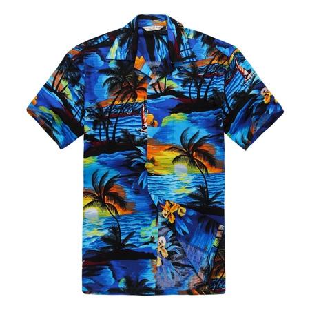 Men's Hawaiian Shirt Aloha Shirt 4XL Sunset Blue - Cheap Hawaiian Shirts Walmart
