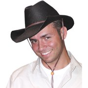 Rolled Edge Black Cowboy Hat Adult Halloween Accessory 8b602d5dd07a