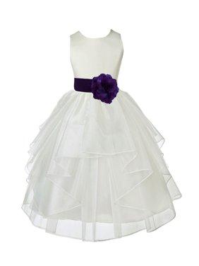 Ekidsbridal Formal Satin Shimmering Organza Ivory Flower Girl Dress Bridesmaid Wedding Pageant Toddler Recital Easter Communion Graduation Reception Ceremony Birthday Baptism Occasions 4613s