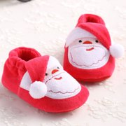 Christmas Baby Toddler Infant Snow Boots Soft Sole Prewalker Crib Shoes