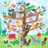 Oopsy Daisy - Tree of Life- Critters Canvas Wall Art 24x24, Jill McDonald