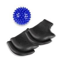 Plantar Fasciitis Inserts Heel Protectors 2 Pairs Silicone Gel Heel Cups with 1 Foot Massage Ball Relieve Heel Pain from Plantar Fasciitis Heel Spur Cracked Heels(Black+Black)