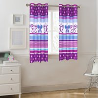 Mainstays Kids Grommet Room Darkening Purple Butterfly Single Window Panel