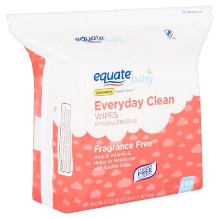 Equate Baby Everyday Clean Fragrance Free Wipes, 240 count Dots Baby Wipe Case