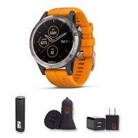 Garmin Fenix 5 Plus - Sapphire, (Titanium with Solar Flare Orange Band) - Premium Multisport watch with Music, Maps, and